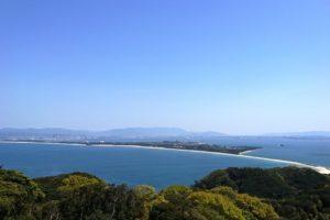 潮見展望台からみる海の中道の眺め