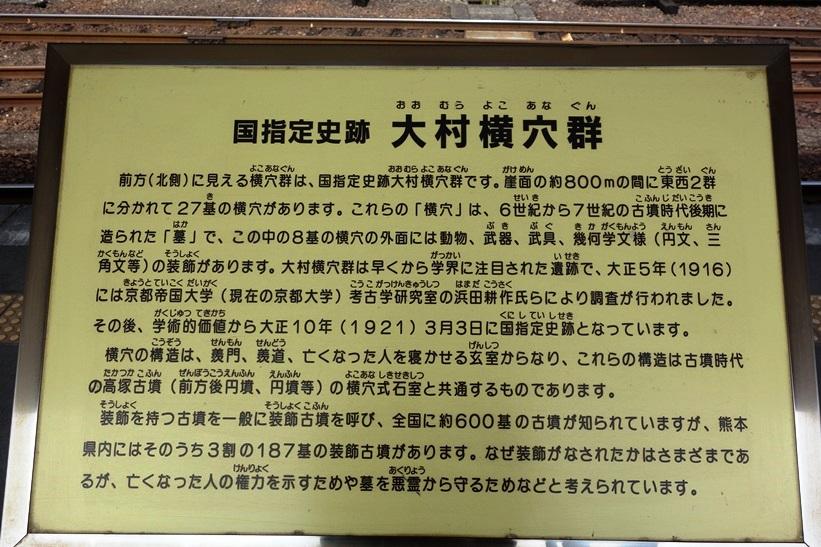 プラットホームに設置された大村横穴群の解説