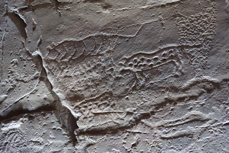 先史時代の岩刻画、盤亀台岩刻画展示館のレプリカ