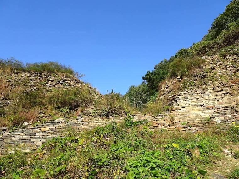新羅の山城「姑母山城」の西門付近は手付かずの姿が残る