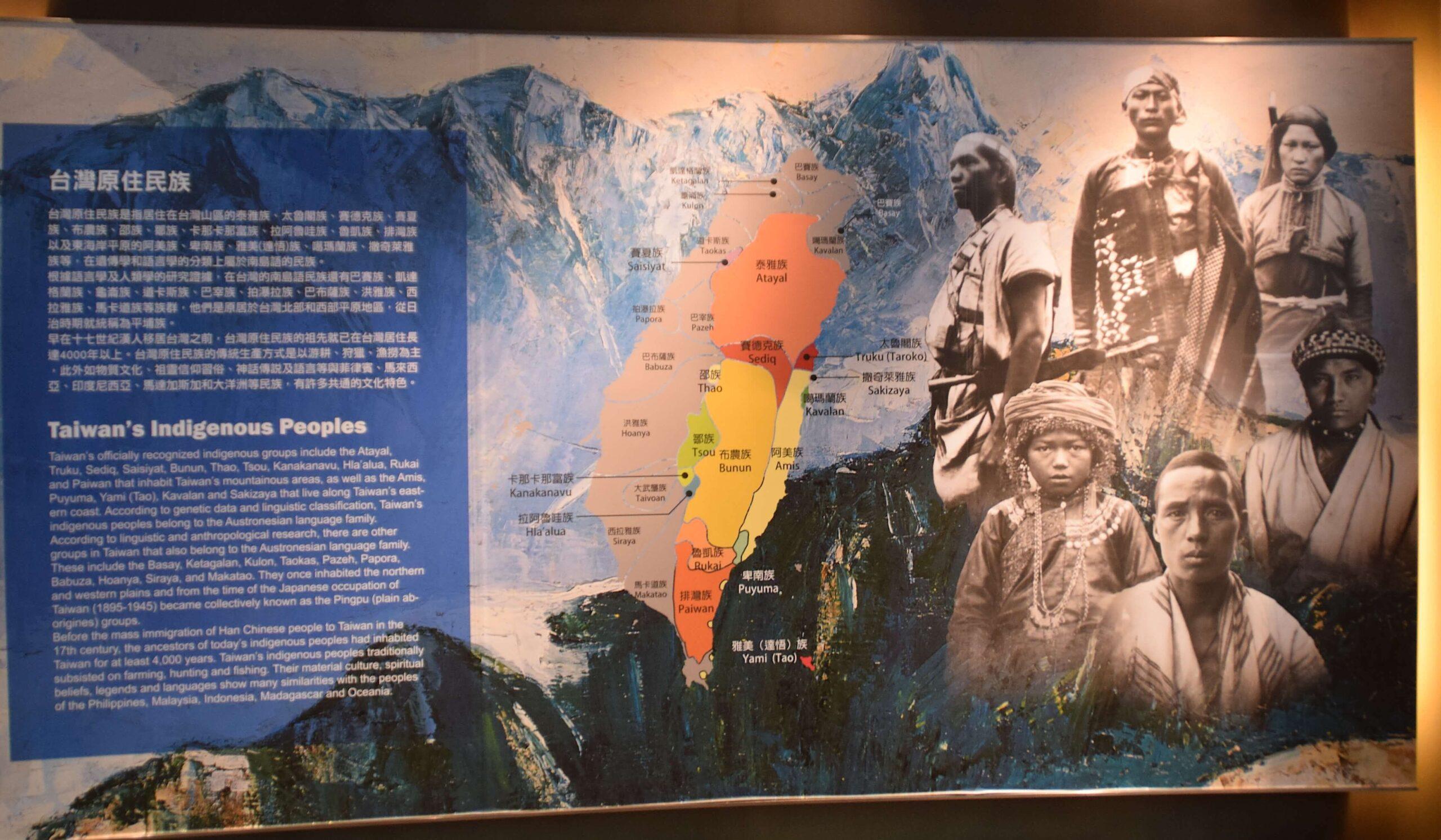 順益原住民博物館ロビーの全体解説パネル。写真と分布図と文章