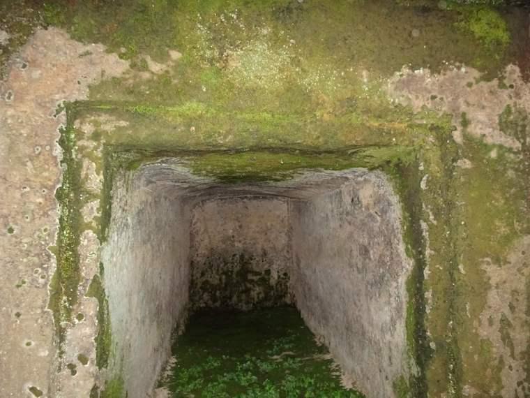 巨岩をくり抜いた石棺式石室を奥まで覗く。九州唯一の古宮古墳は大分君恵尺の墓とも言われる