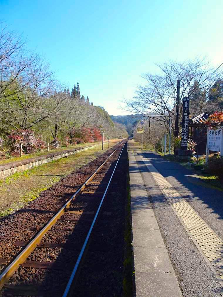 嘉例川駅のまっすぐ伸びたレール